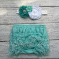 6 set/lote Hortelã Bebê Lace Ruffle Shorts de Correspondência Bebê Cabeça Do Bebê Menina Irritar Bloomer Fralda Do Bebê Cobre