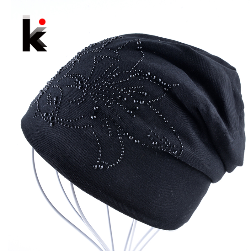 2018 Female Beanie Bonnet Autumn And Winter Caps Hip-hop Cap Flower Rhinestone Hats For Women Beanies Balaclava Womens Skullies(China)