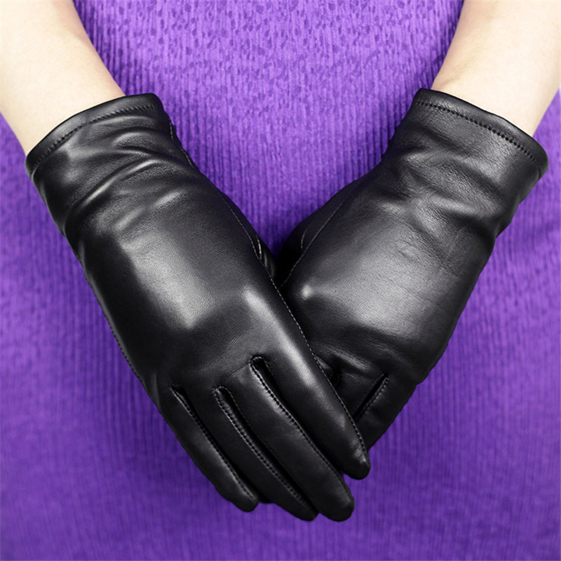 Genuine Leather Gloves Female Fashion Simple Sheepskin Gloves Plus Velvet Thicken Black Basic Style Woman's Gloves DQ204