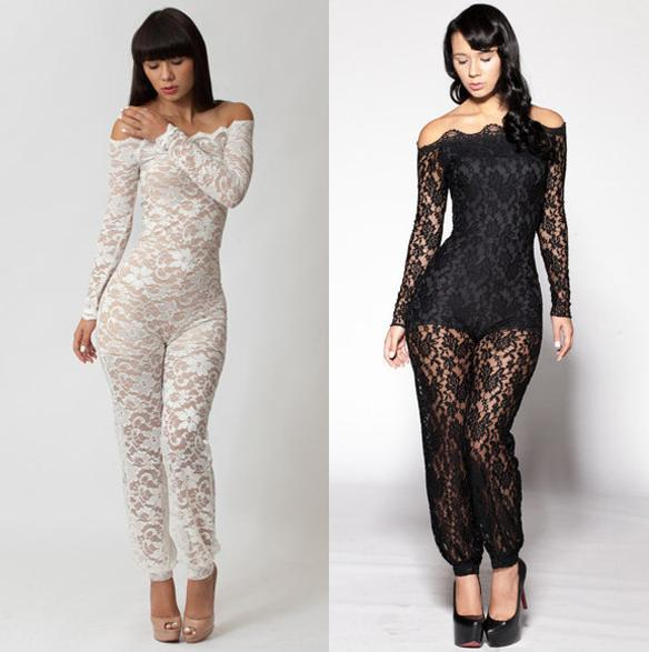 Aliexpress.com : Buy New 2014 Women Winter White Lace Jumpsuits ...
