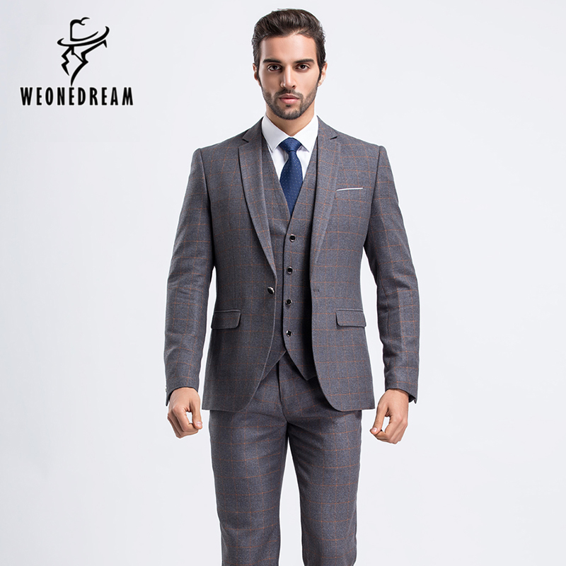 New Mens Wedding Suit One Button Light Grey Suits Fashion
