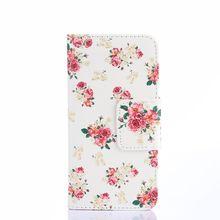 Colofrul padrão peônia fundo branco slot para cartão de carteira estande couro pu tampa do caso da aleta para o htc one 2 m8