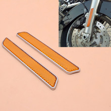1pair Front Fork Leg Reflectors Fits for Harley Touring Lower Legs Sliders Dyna Glide Sportster Lower Leg Slider Motorcycle 1pair motorcycle led light front lower fork leg covers case led warning light for harley accessories flhr flhx flht 2014 up
