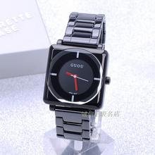 HK GUOU BrandQuartz Водонепроницаемый женские Часы Площади Набора Черный Полный Нержавеющей Стали Ремешок Мода Роскошный Подарок Леди Наручные Часы