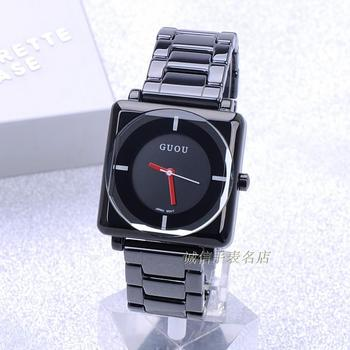 HK GUOU BrandQuartz impermeable relojes mujer Plaza Dial negro completa de acero inoxidable banda de moda regalo de lujo dama relojes pulsera