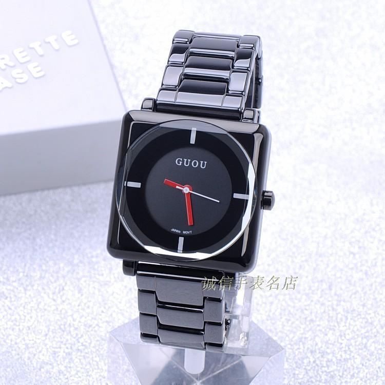 HK guou brandquartz impermeable Relojes de mujer Plaza dial negro completo Acero inoxidable regalo de moda de Lujo Señora Relojes