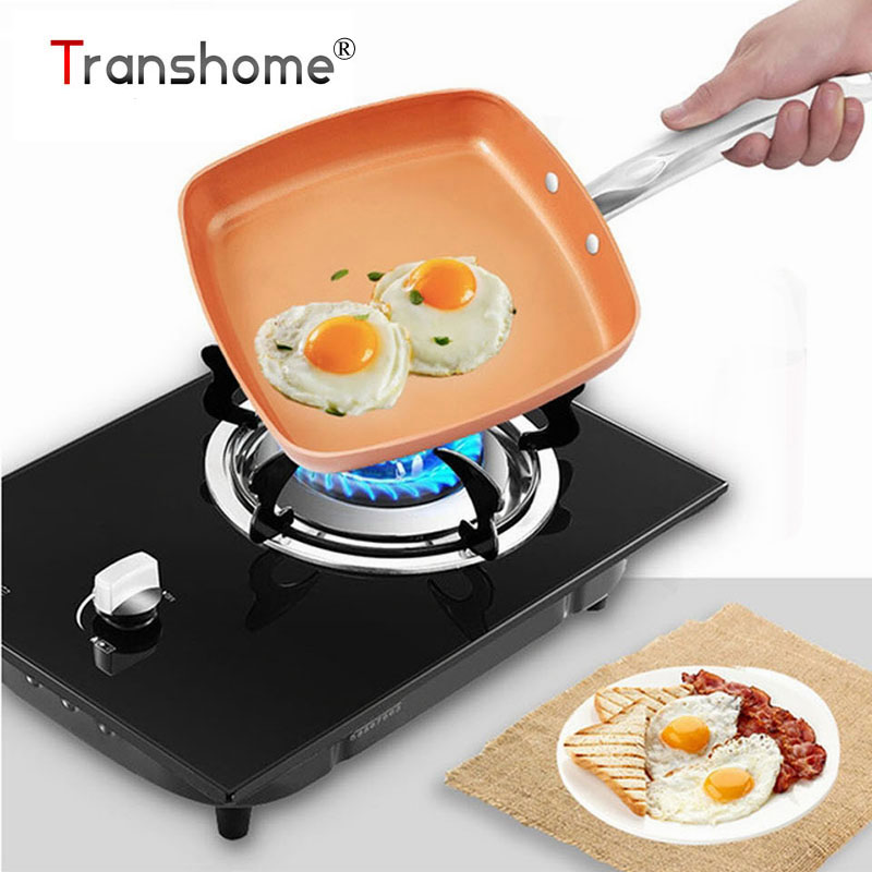 Transhome 1Pcs Non-Stick Copper Frying Pan Skillets Chefs Grill Roasting Sauce Crepe Risotto Omelet Aluminum Pan Glass Cover