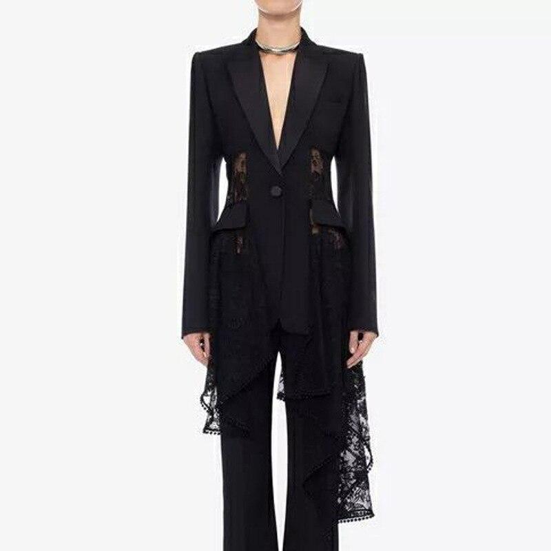 Arrivée Gratuite Automne Femme 2018 Partie Vacances Tranchée Nouvelle Manteaux blanc En Livraison D'aronde Par Noir Manteau Queue Piste Designer V cou Casual 6Eqt5xwS