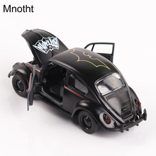 Mnotht 1:36 Diecast Car Model Black Batman Beetle Torino Vintage Classical Toys Alloy Hobbies Door Open L65