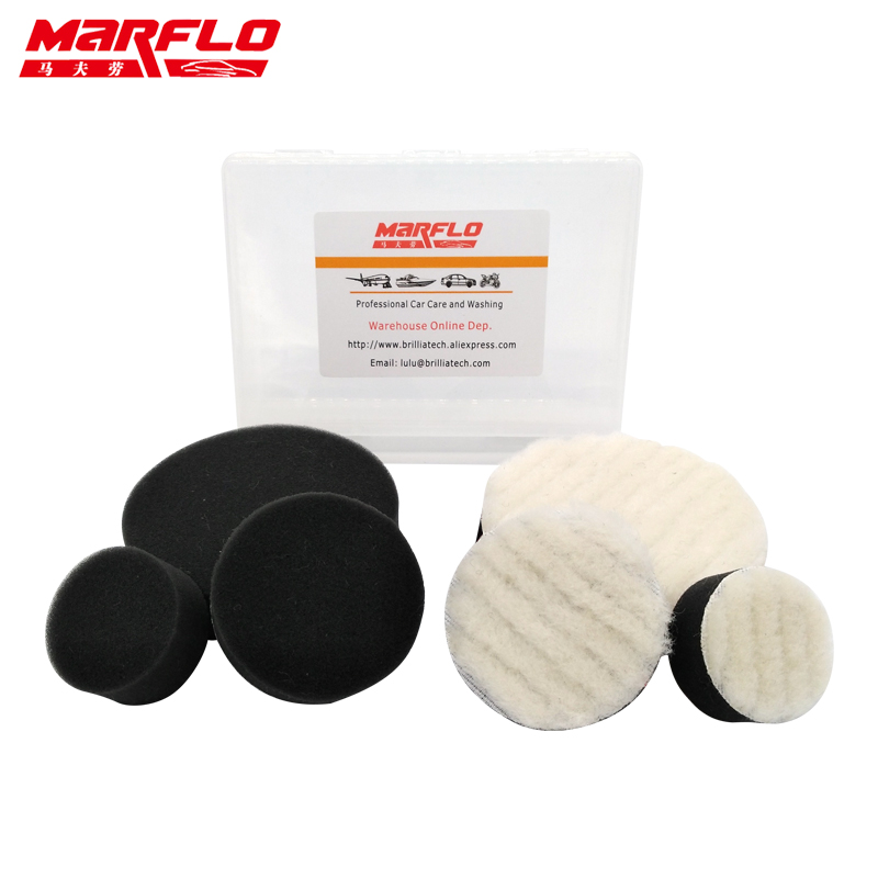 Marflo Sponge Polishing Pad Waxing Buffing Polishing Pad Kit 1.2 2 3 Wool Washing 6pcs in PP Box by Brilliatech spta 4 100mm genuine wool buffing ball polishing pad ball hex shank turn power drill or impact driver high speed polisher