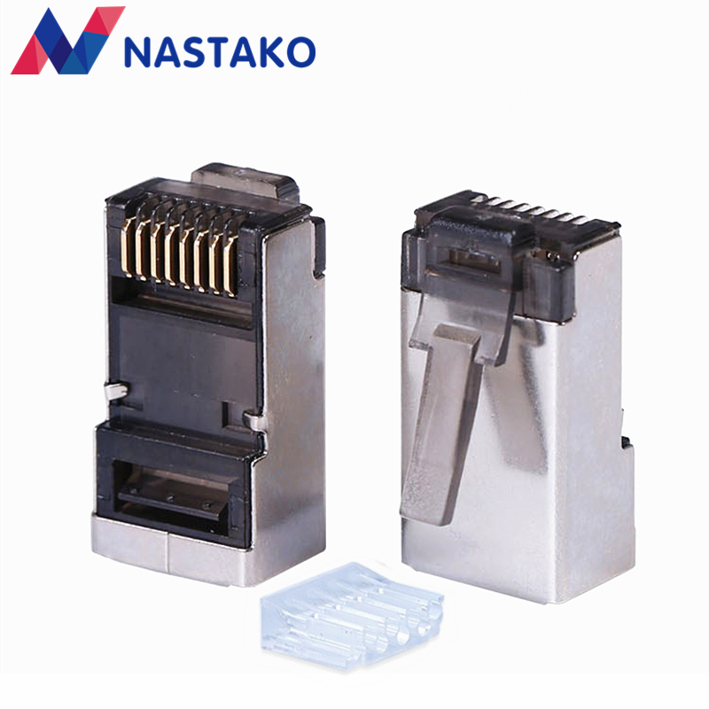 NASTAKO Black Cat6 Cat5e rj45 connector cat 6 network connectors rj45 plug split type stp metal shielded modular terminals hanrun hr911105a diy rj45 network adapters w indicator light silver black 5 pcs
