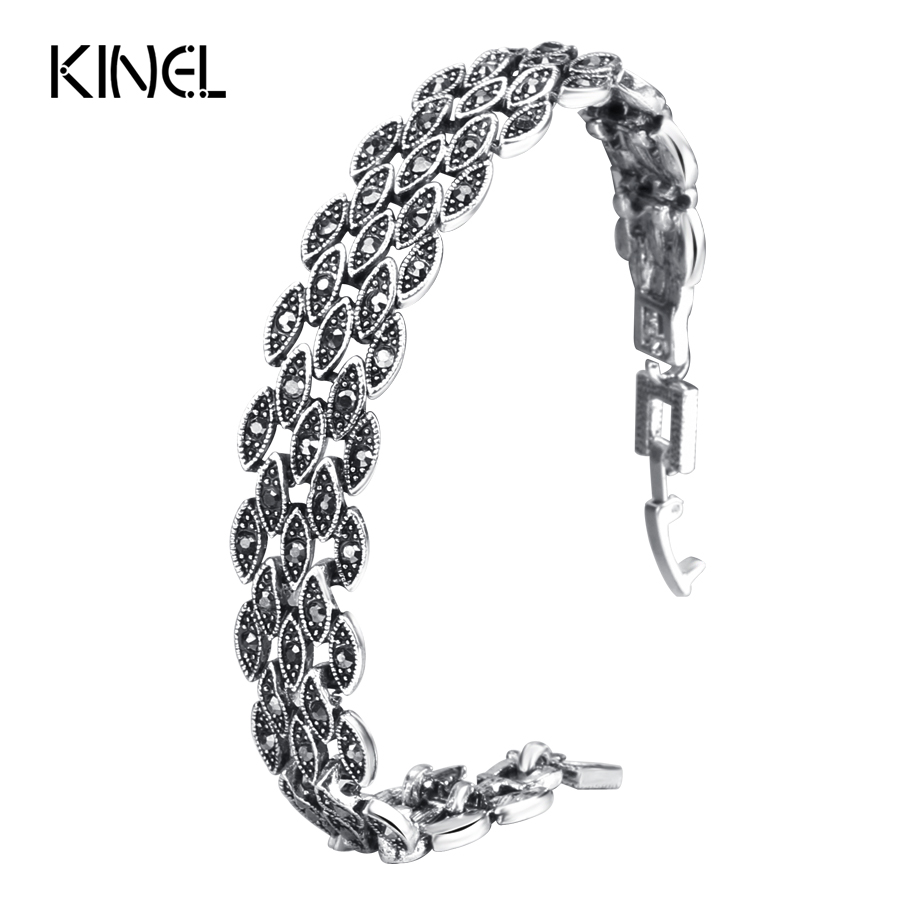 Kinel Bright Black Crystal Bracelet For Women Antique Silver Color Little Eye Link Bracelets Charm Vintage Jewelry все цены