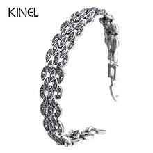 Kinel Bright Black Crystal Bracelet For Women Antique Silver Color Little Eye Link Bracelets Charm Vintage Jewelry