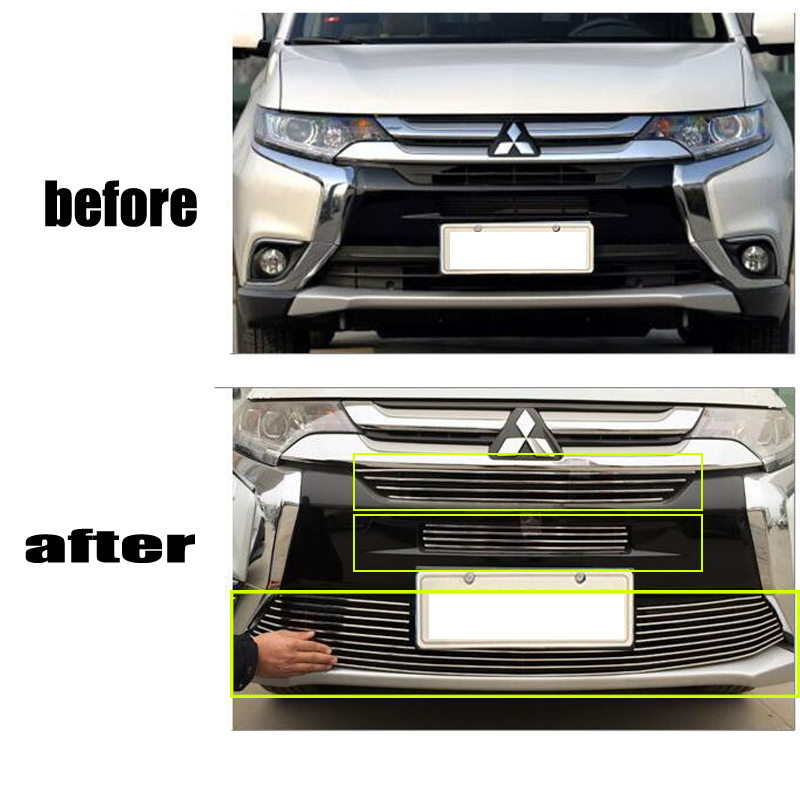 FUWAYDA 3 pcs stainless steel Front Grille Around Trim Racing Grills Trim For 2016 2017 for Mitsubishi Outlander