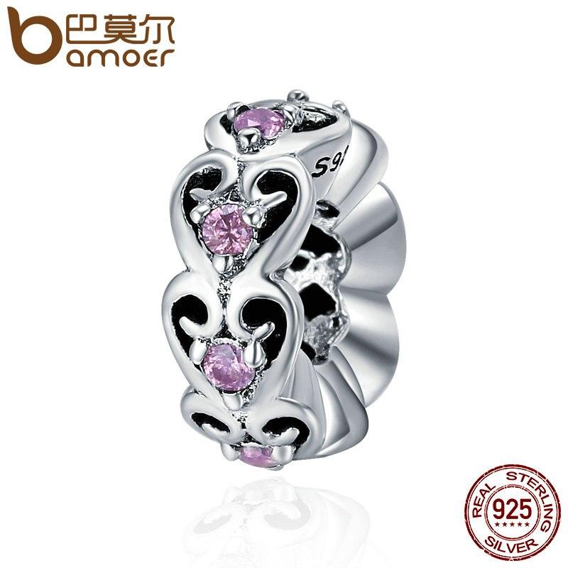BAMOER Romantique Véritable 925 Sterling Argent Empilable de Coeur D'amour Spacer Perles fit Femmes Charme Bracelets DIY bijoux SCC339