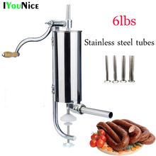 3L/6lbs operated home sausage meat stuffer stainless steel manual vertical sausage filling machine kitchen tool sausage maker