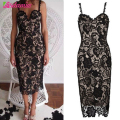 Celebrity Sexy Party Dresses Corchet Embroidery Women Dress Black White Lace Dress Bandage Floral Midi Bodycon Dress XL