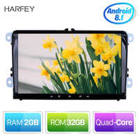 Harfey 2 din 4-core GPS Navi Auto reproductor Multimedia Android 8,1 Auto Radio para Skoda/asiento/Volkswagen/VW/Passat b7/POLO/GOLF 5 6