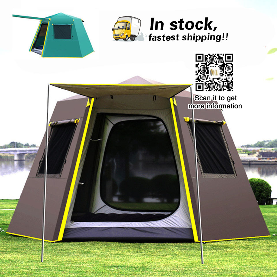UV hexagonale en aluminium pôle automatique camping En Plein Air grande tente sauvage camping tente camping 4-6persons