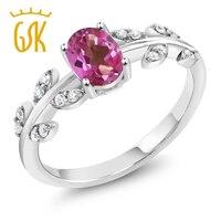 1 01 Ct Oval Pink Mystic Topaz 925 Sterling Silver Olive Vine Ring