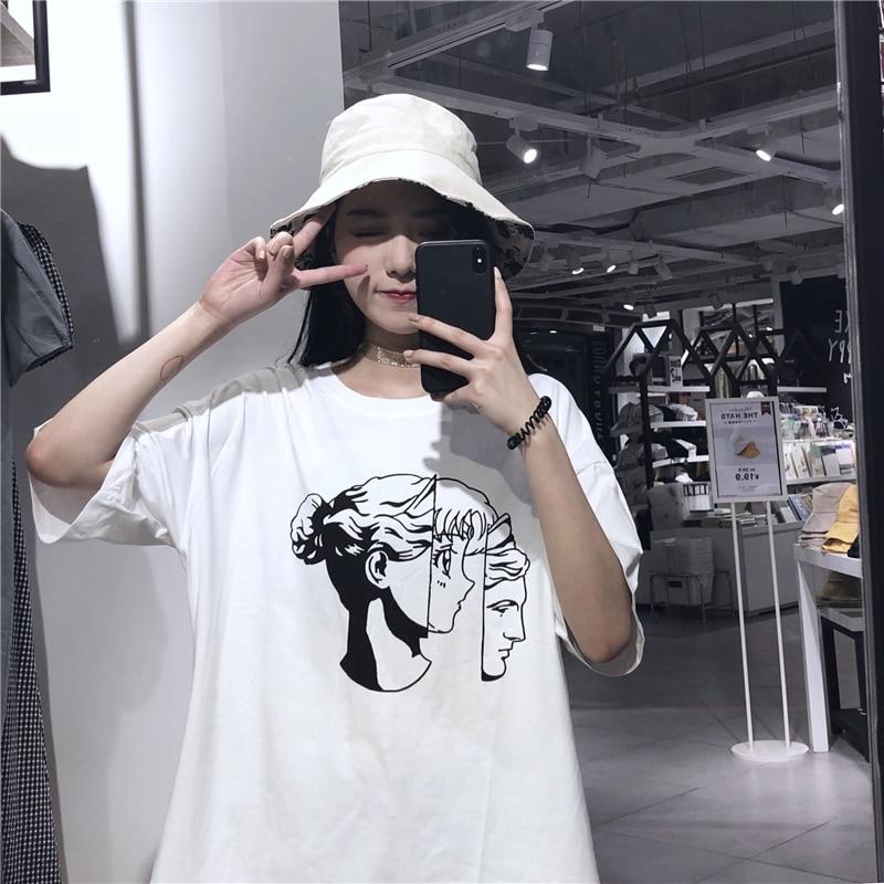 harajuku kawaii clothes summer 2018 korean fashion summer t shirt sweet printed cartoon beautiful girl white purple t-shirt wome