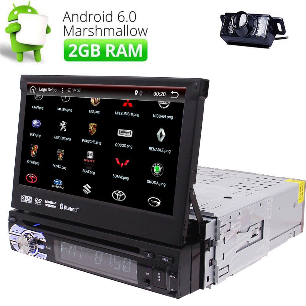 Android 6.0 Car Stereo GPS Quad Core 7 Tablet Single DIN Radio car dvd player in dash car styling stickers DVR+Rear view camera