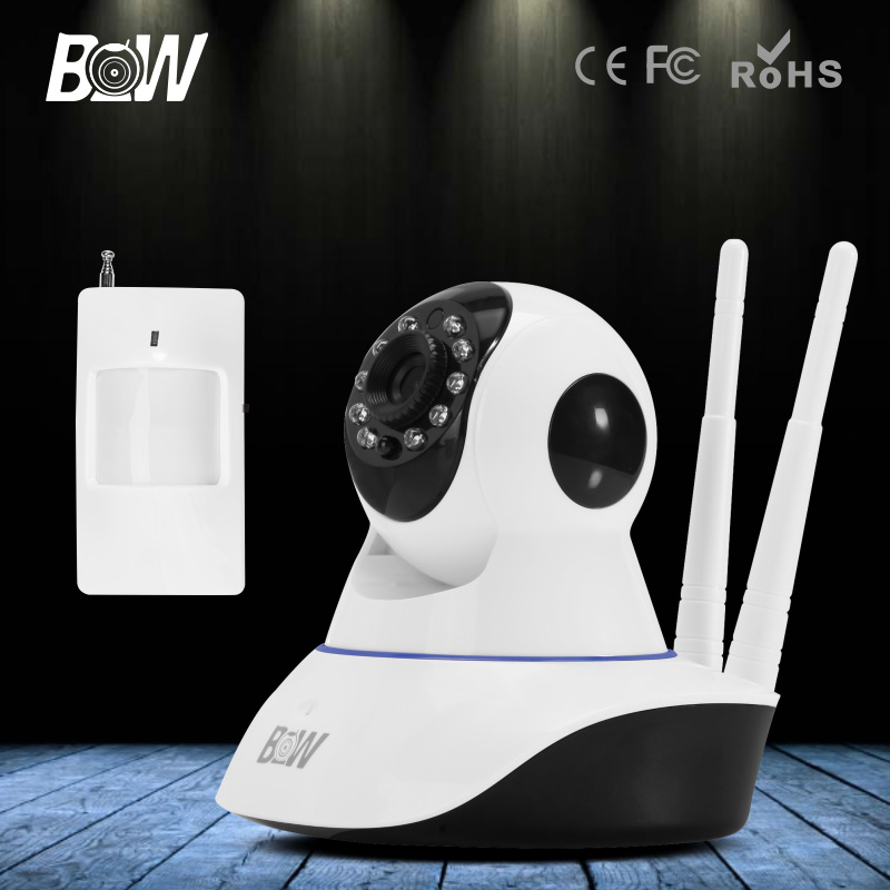 BW CCTV HD IP Camera Wireless 720P + Infrared Motion Sensor Alarm 3.6mm Endoscope Wifi Security Camera Mobile Remote Control bw p2p cctv ip camera wifi wireless hd 720p onvif rotatable surveillance security camera cctv automatic sensor detector alarm