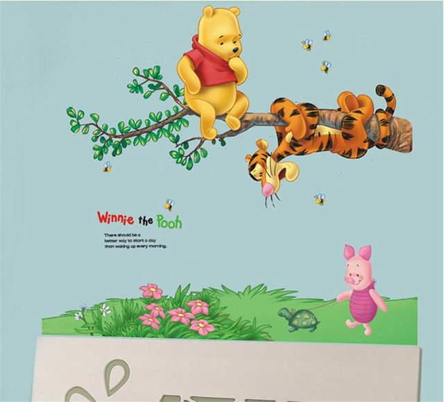 Cartoon Animals Winnie Pooh Wall Stickers For Kids Children Room Decaor 3d  Window Bear Tiger Height Measure Nursery Wall Decal