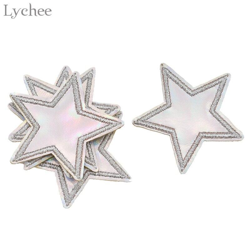 Parche de hierro con estrella holográfica para Lychee Life, parche de aplique bordado adhesivos para ropa, accesorios de ropa DIY, 5 uds.