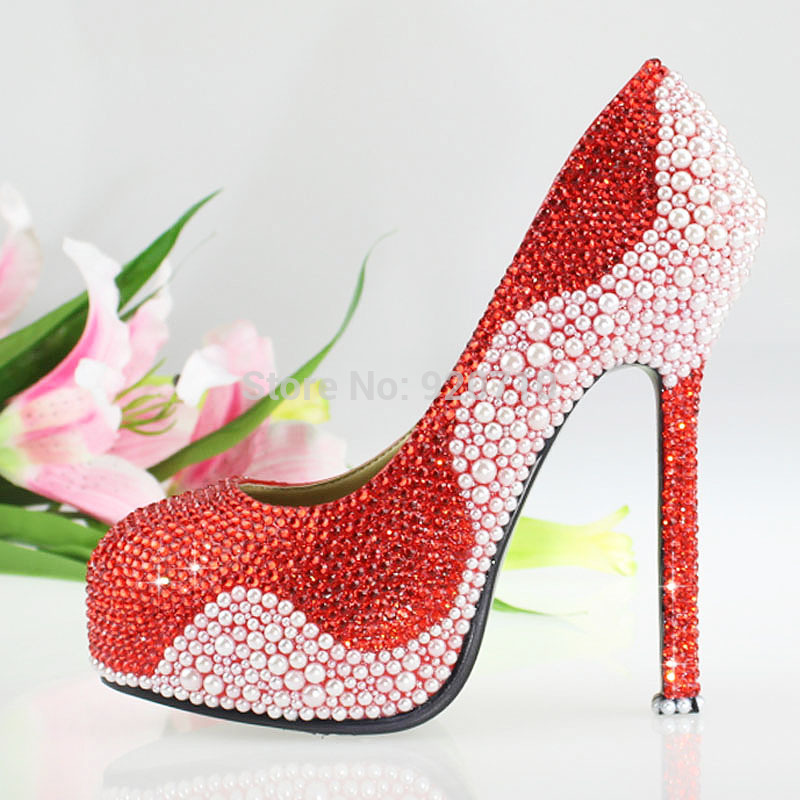 Jeweled Wedding Shoes Platform Online Shop Ladies Bridal Red Crystals And White Pearls In Womens Pumps From On Aliexpress