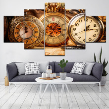 Retro zakhorloge 5 stuk HD Wallpapers Art Doek moderne Poster Modulaire art schilderen voor Woonkamer Home Decor(China)