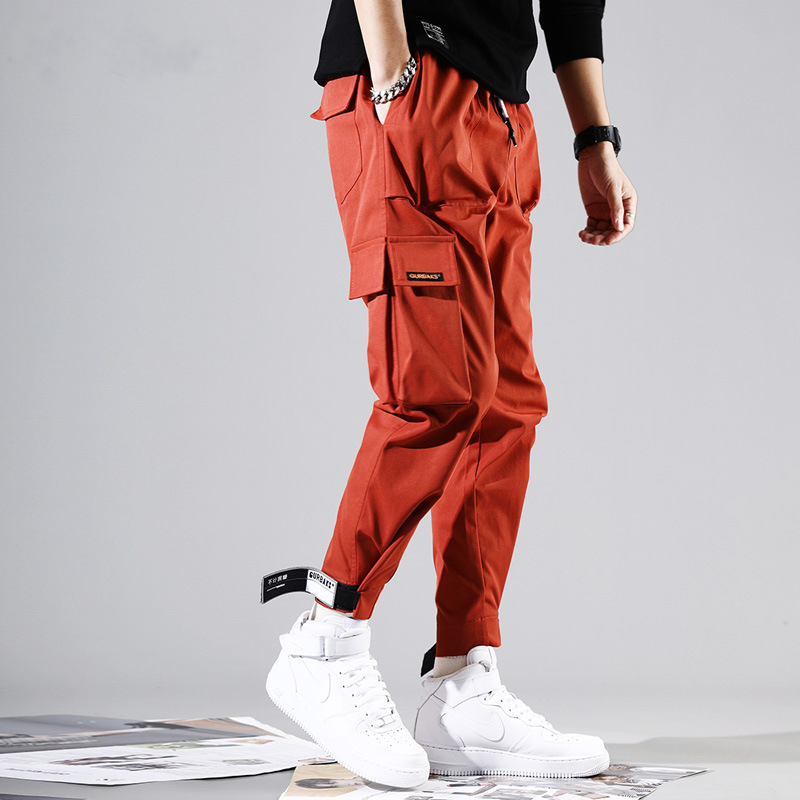 Mens Side Pockets Harem Pants 2019 Hip Hop Casual Black Red Male Joggers Trousers Fashion Streetwear Cargo Pant WA100