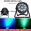 Factory Price 2XLot Led Par Light 9X10W RGBW 4IN1 LED Flat Par Can IP65 Waterproof DJ Disco Stage Effect Lights Free Shipping