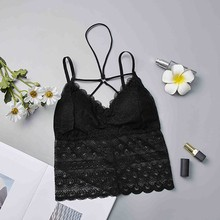 Sexy Beauty Back Bralette Top Summer Lace Vest Crop Top Womens Tank Tops Bustier Bra skull flower tank top with openwork lace back