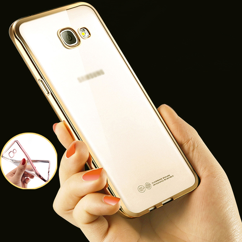 Phone Case For Samsung Galaxy A7100 A7 2016 Plating Electroplating TPU Soft Transparent Mobile Phone Cases For Samsung A710F