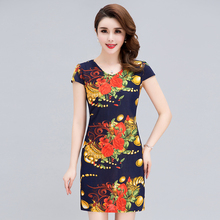 new summer fashion woman V-neck print dress milk silk stretch floral Vestido estampado com decote em plus size S-4XL