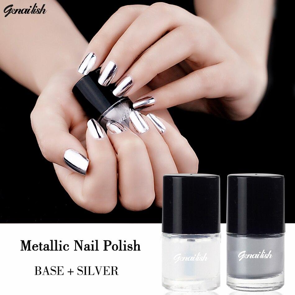 Metallic Nail Polish Silver: Genailish 2pc/lot 6ml Metallic Nail Polish Silver Mirror