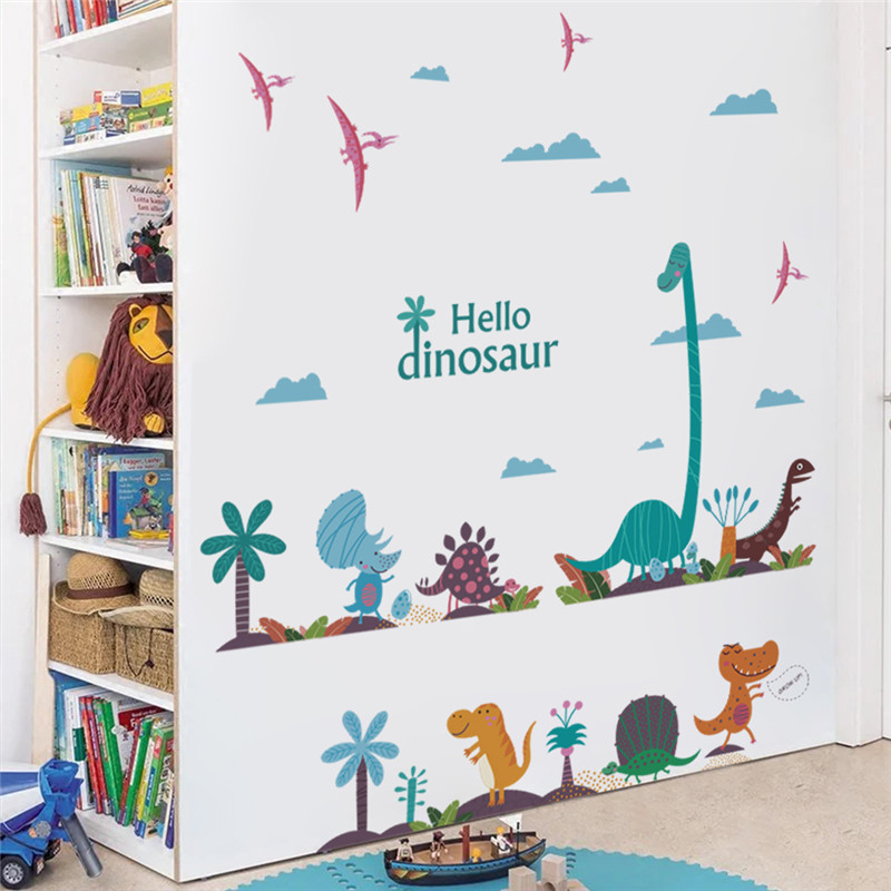 cartoon colorful Dinosaur Palm tree wall stickers for kids rooms nursery children decals murals diy home decoration