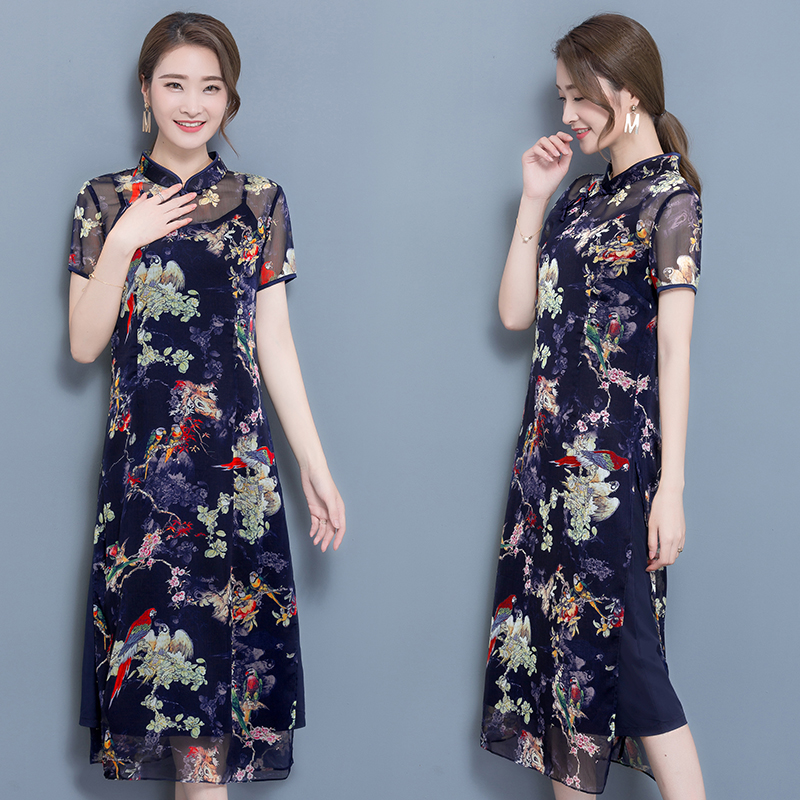 Two Piece Dress Chiffon Dress Summer NEW WOMENS Vintage Floral Slim A Line Sisjuly Vestidos De