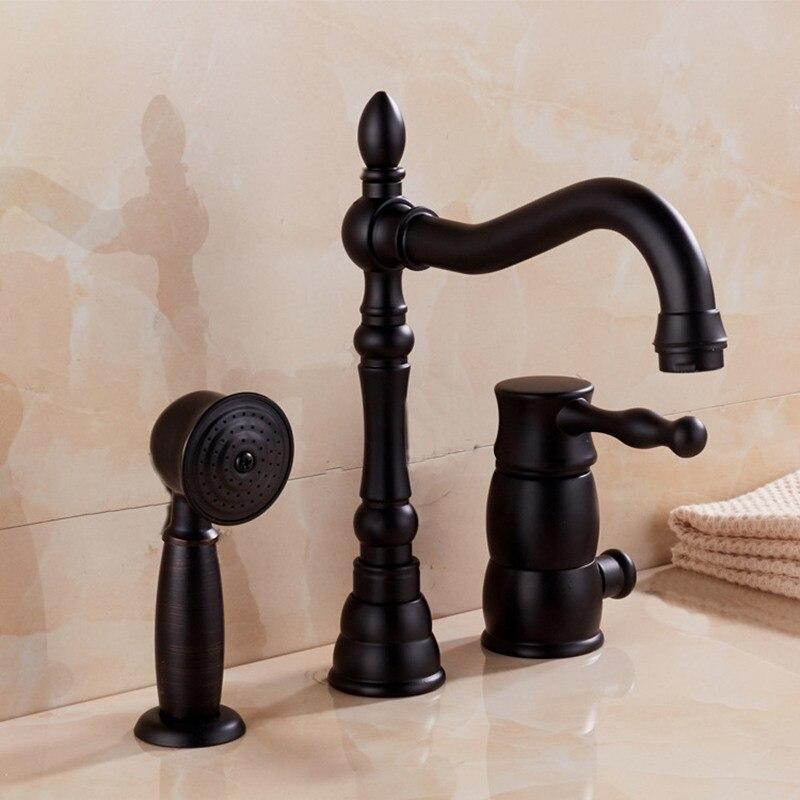 Смеситель латунь черный матовый Палуба Гора Ванная комната раковина кран 3 отверстия Одной ручкой горячая холодная вода кран для ванной