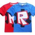 2017 nueva robocar poli spiderman niños ropa al por menor de dibujos animados de moda de verano de algodón ROBLOX STARDUST ÉTICA Camiseta chico