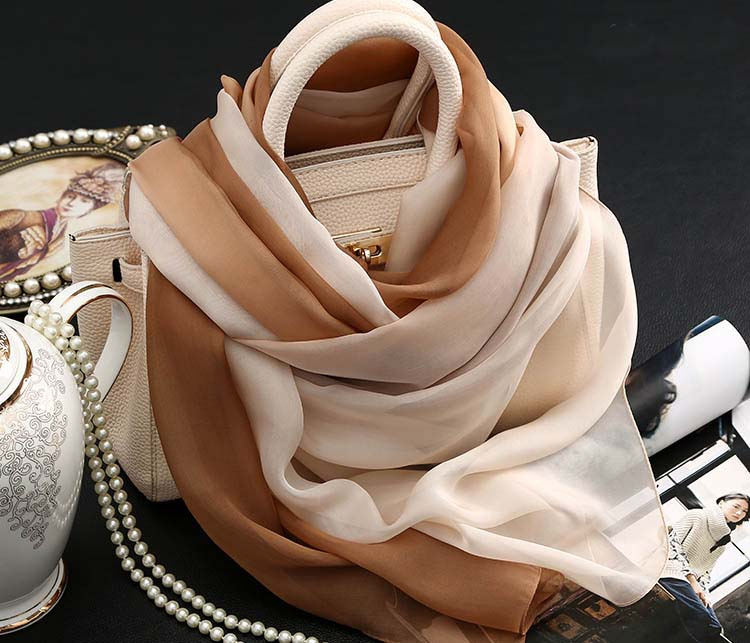 Brown Nude Color Gradient High Quality Silk Scarves China Wholesale Scarfs Summer Beach Towel Multifunctional Bandana Silk Scarf