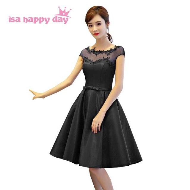 8f07c54f3138d Robe de Soiree 2018 Princesse vestidos elegantes negro Vestido corto  longitud de la rodilla de la