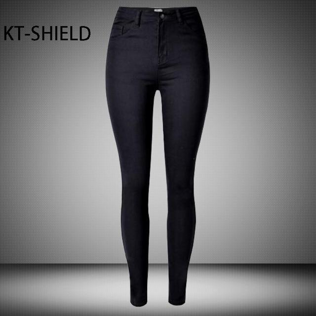 f17d873d653 High waist Jeans women casual brand Fashion Slim Black Ladies Denim  Leggings Skinny Pencil Pants Elastic Female Cotton Trousers