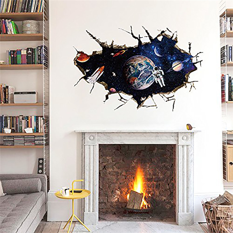 Aliexpress.com : Buy 3D Outer Space Planet Wall Sticker For Kids Room Decor  Galaxy Astronaut Mural Decals Home Living Room Decoration Removable From ... Part 68
