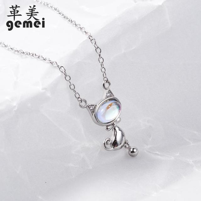 Gemei 100% 925 Sterling Silver Natural Stone Moonstone Cat Necklaces & Pendants For Women Fashion Party Jewelry