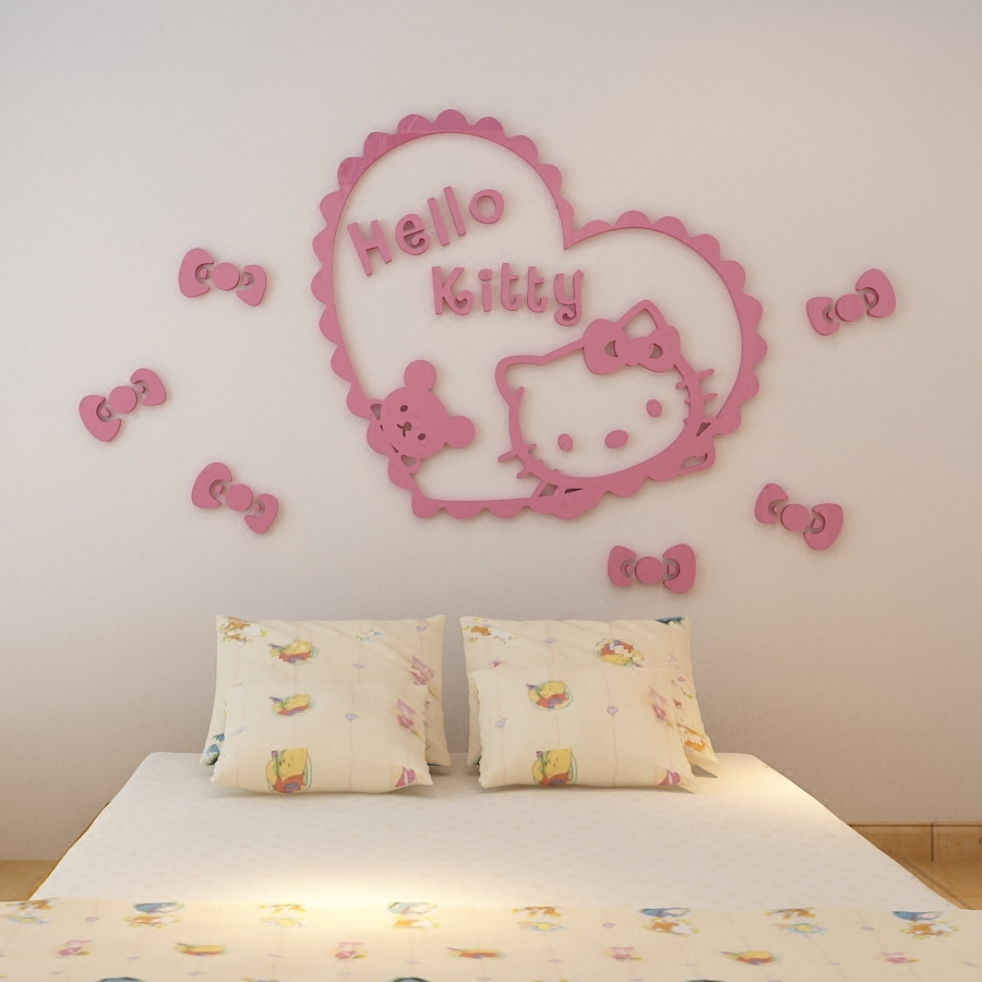 3D Acrylic Pink Hello Kitty Three Dimensional Wall Stickers Kidu0027s Room Decor  Cozy Creative Cartoon