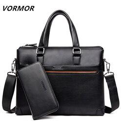 Vormor 2 conjunto bolsa masculina mensageiro sacos de couro do plutônio homem sacos de moda masculina maleta homem casual bolsa de ombro conjunto