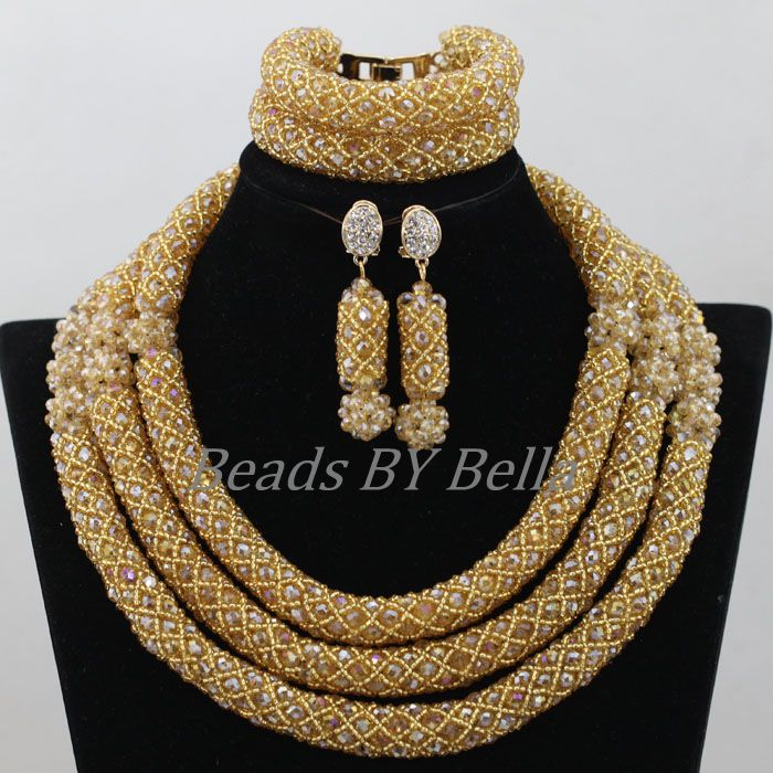 цены African Costume Bridal Jewelry Sets Women Christmas Gift Gold Crystal Nigerian Wedding Beads Necklace Set Free Shipping ABF943
