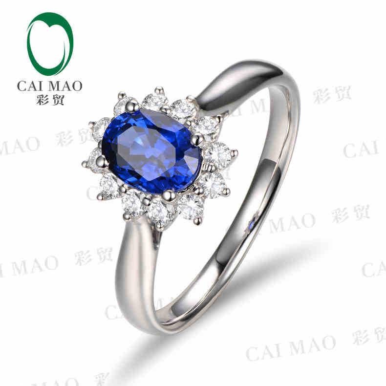 Caimao 18kt/750 الذهب الأبيض 0.75 قيراط الياقوت الطبيعي y & 0.23 ct كامل قص الماس المشاركة gemstone ring مجوهرات